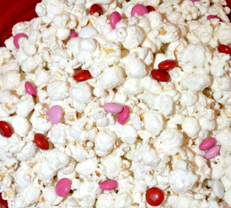 Easy Valentine White Chocolate Popcorn with M&M's