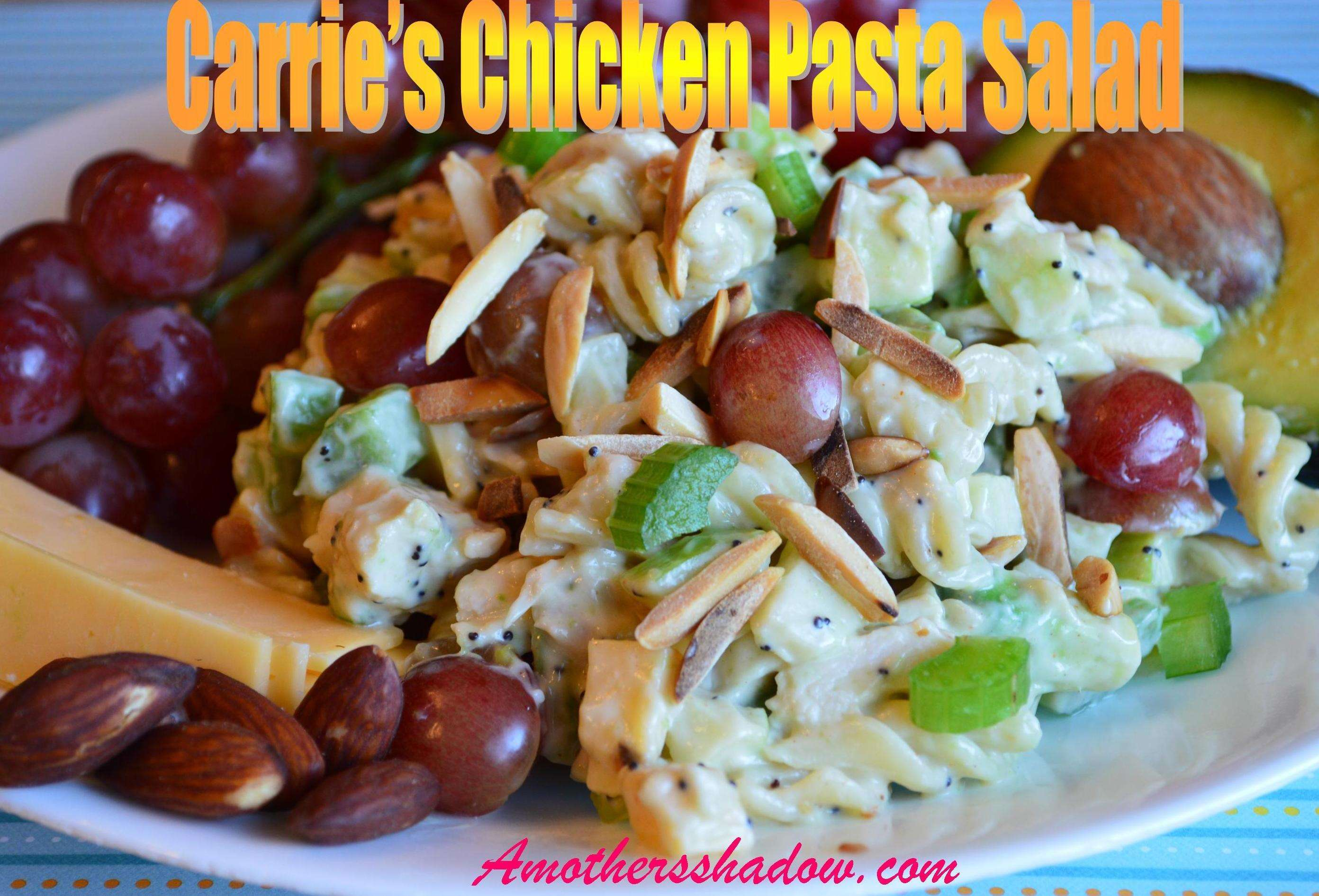 A cold pasta salad using rotini pasta that has grapes, celery, crisp apples, smokey Gouda cheese and toasted almonds. All topped with a creamy poppy seed mayonnaise dressing for a perfect dish