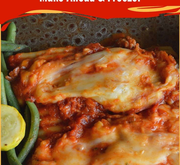 A plate with green beans and manicotti stuffed pasta shells. The shells are filled with ground beef, cheeses and seasonings. They are topped with marinara sauce and more cheese then baked till warmed through