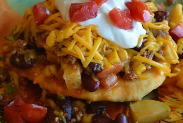 Homemade Fry Bread with Mexican Chili OR Honey Butter