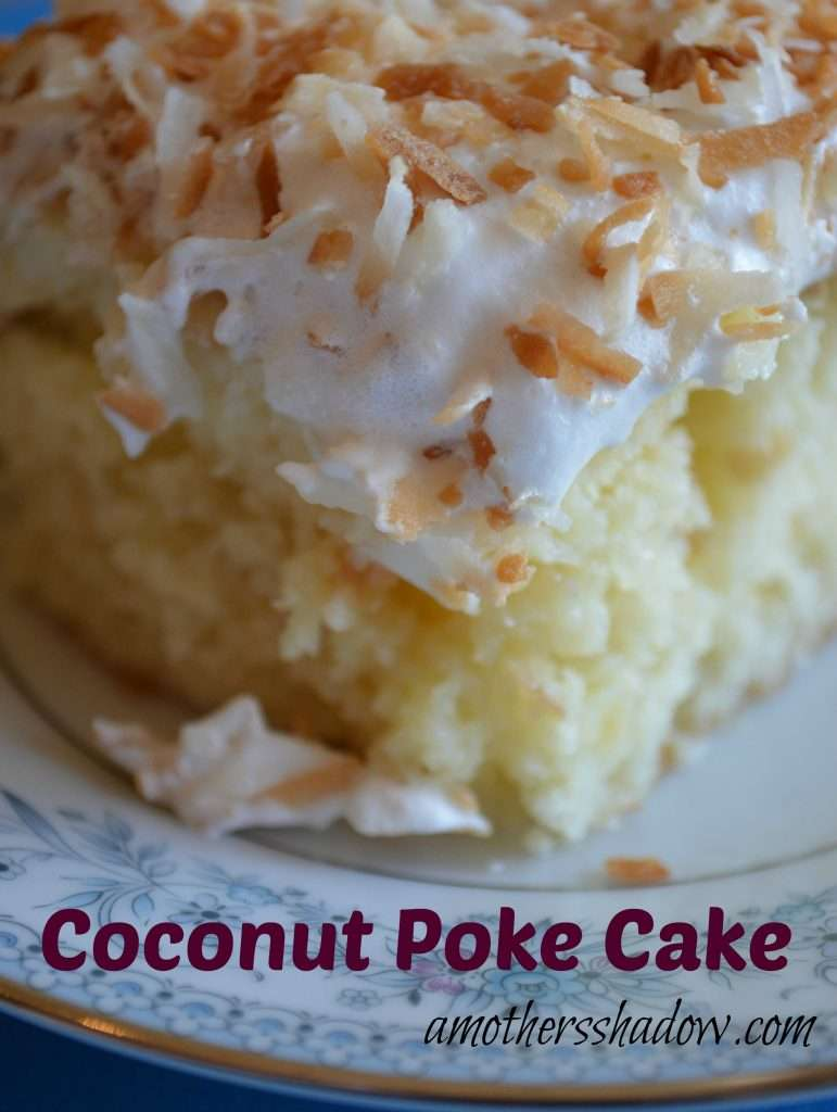 TOASTED COCONUT POKE CAKE