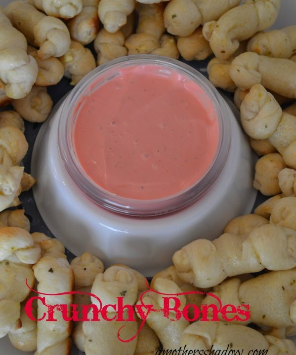 Bag O Bones Breadsticks with Bloody Dipping Sauce