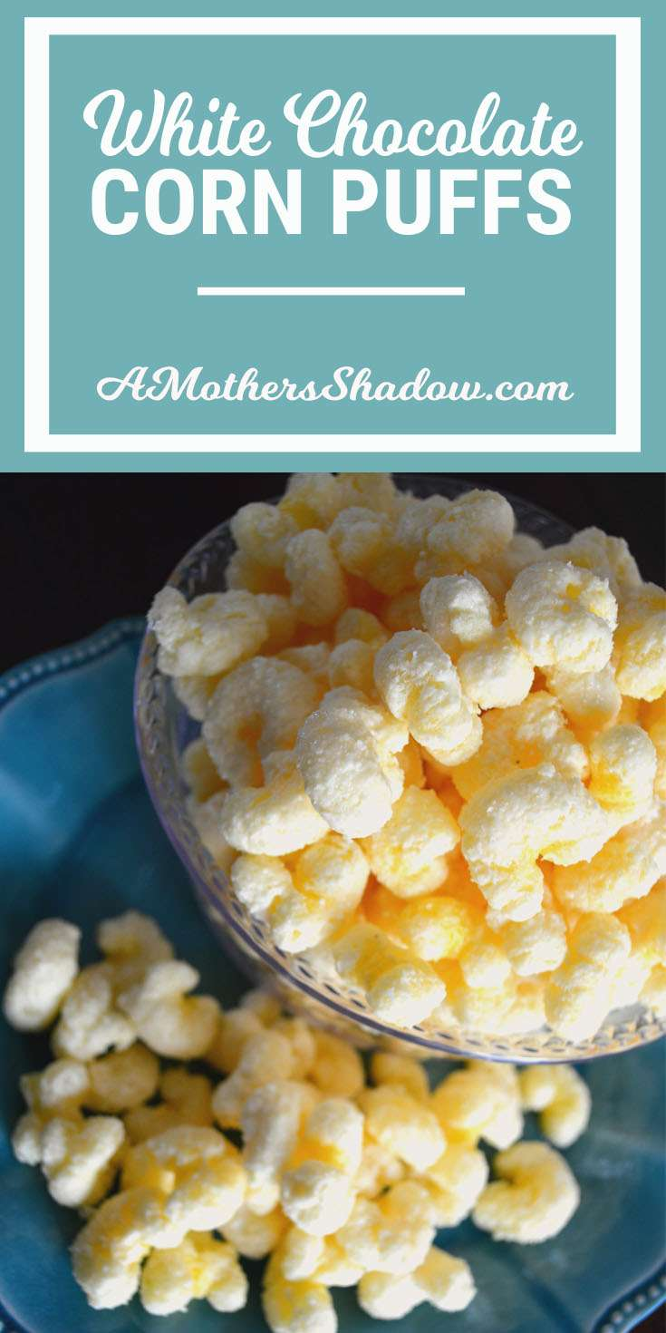 A bowl of corn puffs, or some call them corn pops, but they are considered chips, not cereal. Covered in white chocolate for a wonderful salty sweet snack or treat.