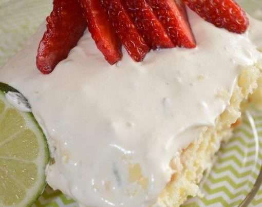 Tender white cake mix that has been baked. Then holes poked all over it to allow in a delicious mixture of whipped cream and key lime juice and sweetened condensed milk. Then finished with a glorious topping of pudding mix, cool whip and lime.
