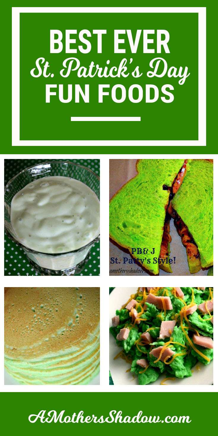 Fun Green Foods for St. Patrick's Day. Showing here are a green smoothie, a sandwich with bright green bread from the local bakery, pancakes colored green with food dye, and green eggs and ham with shredded cheese. Tons of ideas for the day to celebrate with the Leprechaun!