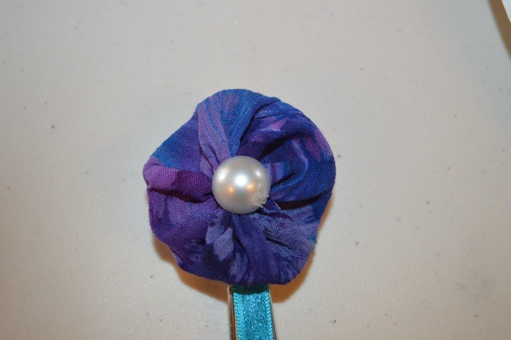 Puffy Fabric Flower Clothespin Magnet 3