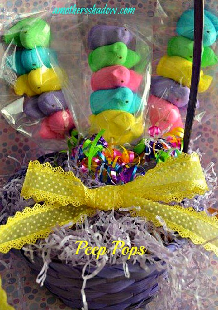 Easter treat made from colored marshmallow peep pops