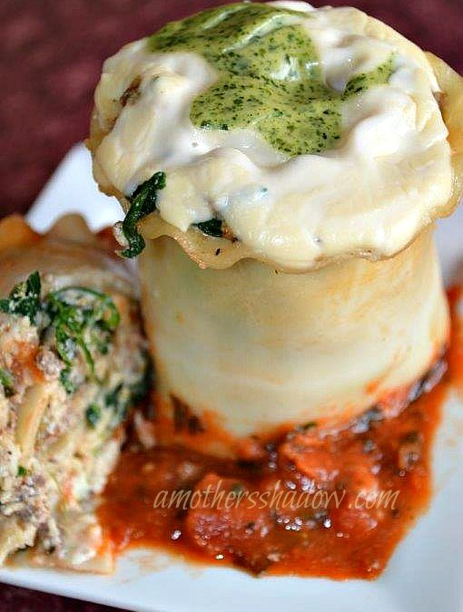 Blend of traditional and wonderful lasagna ingredients spread onto a cooked lasagna noodle. The filled noodle is rolled beginning at one end, all the way to the other end. Then placed in a pan with marinara sauce. Pesto and Alfredo sauce are spooned on top before baking.