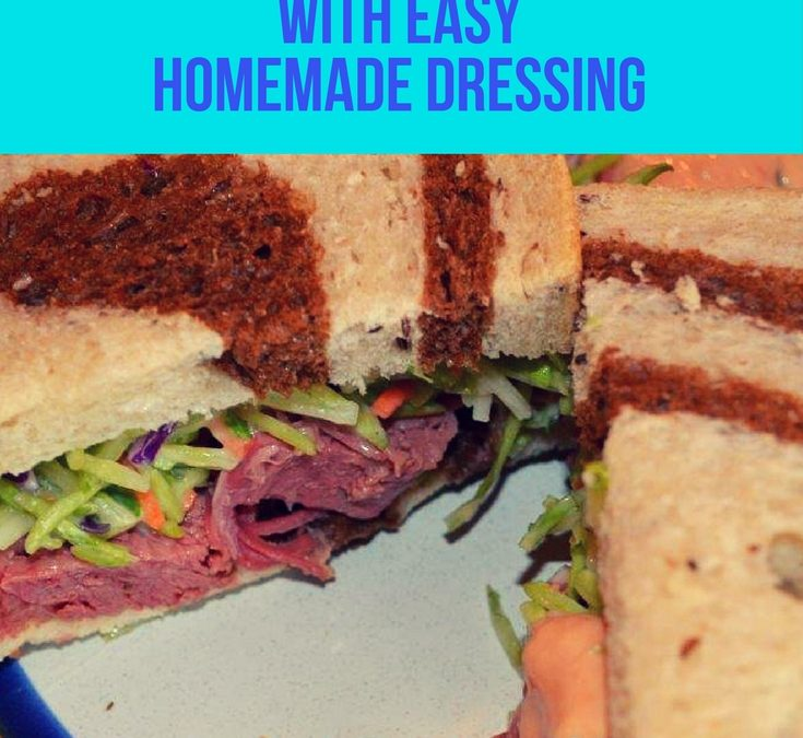 A sandwich made from marbled rye bread, lots of corned beef made in the crock pot, or slow cooker using my no-fail, easy recipe. Layer on a scrumptious homemade slaw and thousand island dressing that makes up quickly for a great dish. A favorite!