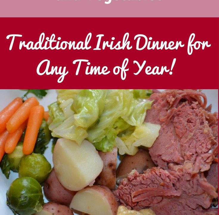 A nice dinner plate with slices of tender corned beef, al dente cooked cabbage, small red potatoes, Brussel sprouts and mini carrots.