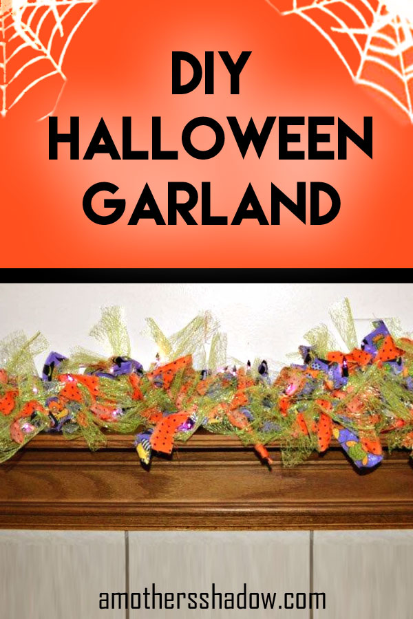 Halloween mini lights strung with fabric and netting