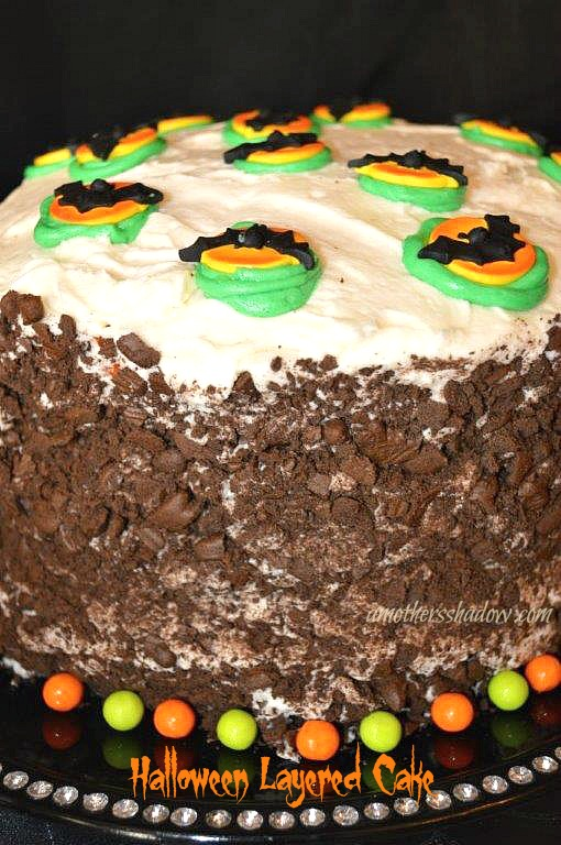 Halloween colored cake batter and decorated cake