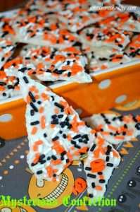 White chocolate with halloween sprinkles and a surprise when you eat it