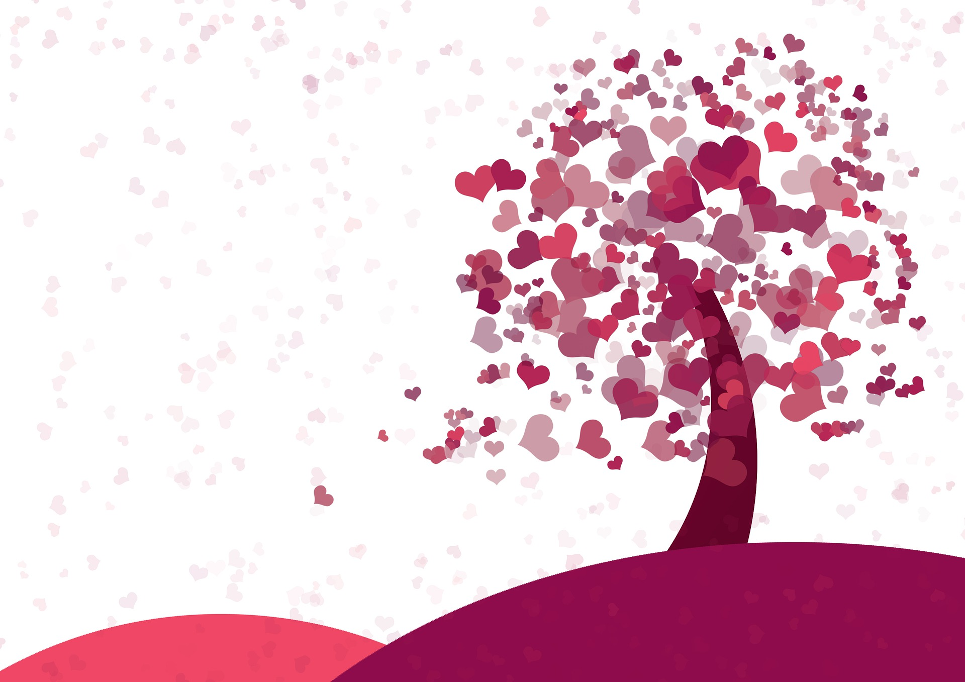 Tree with red and pink hearts as the leaves