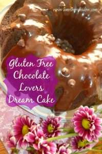 A nice plate with a moist flavorful gluten free chocolate cake. A decadent glaze of melted chocolate drizzled over the cake with chocolate chips sprinkled on top