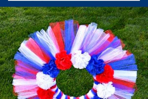 DIY Memorial Grave Decoration made with red, white and blue netting for all weather