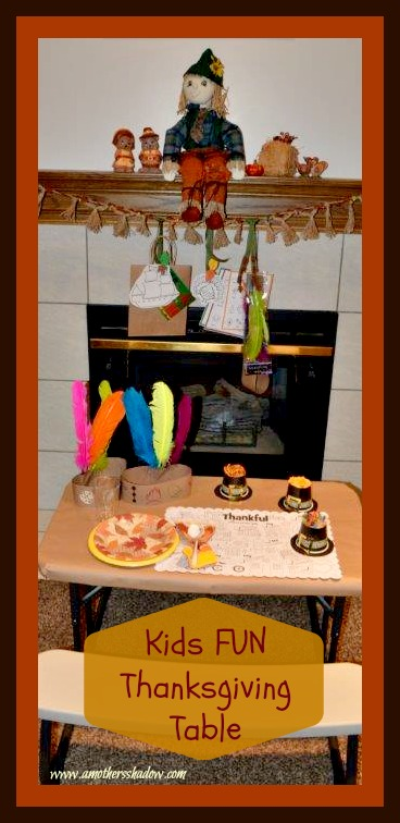 A special table for kids at Thanksgiving with crafts, activities and treats