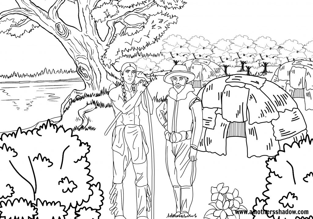 Squanto a true hero a mothers shadow for Squanto coloring pages