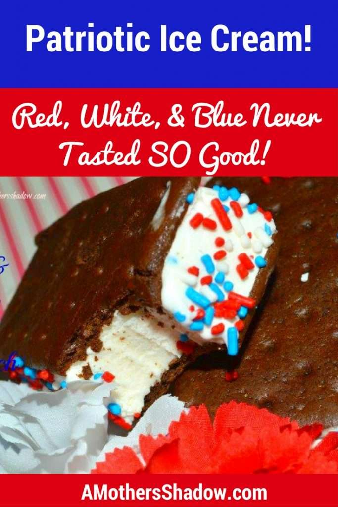 Ice Cream Sandwich with red, white and blue sprinkle on the sides