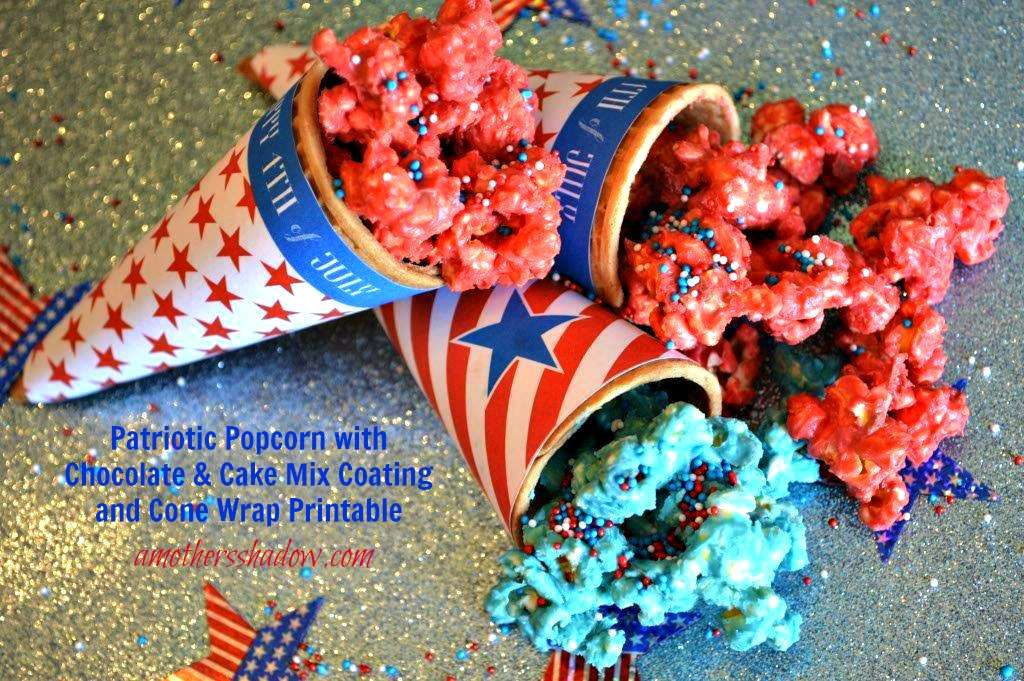 Patriotic Red, White and Blue Popcorn In Printable Cone Wrap