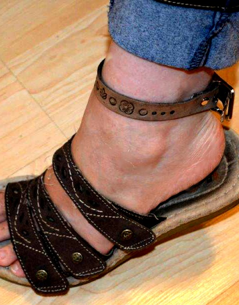 Leather worked wrap as an ankle bracelet