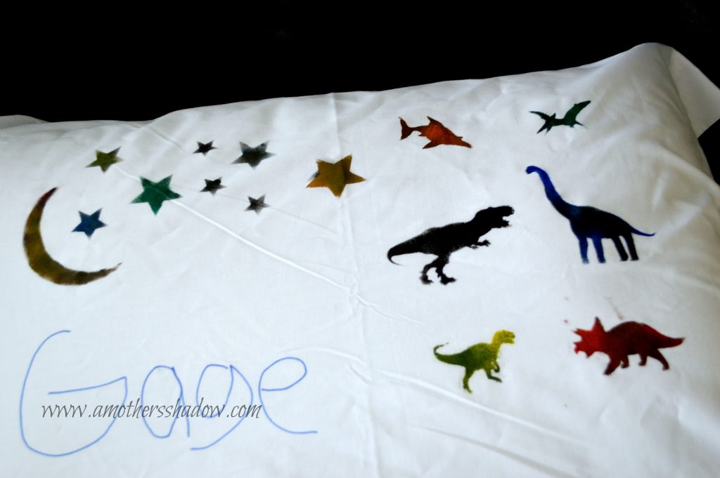 how to use stencils on a pillowcase with kids, for yourself, or a gift