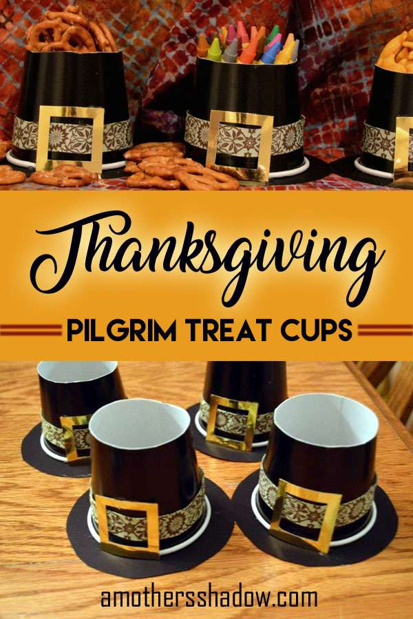 A treat cup for kids and adults for Thanksgiving made to look like a Pilgrims hat from a paper cup