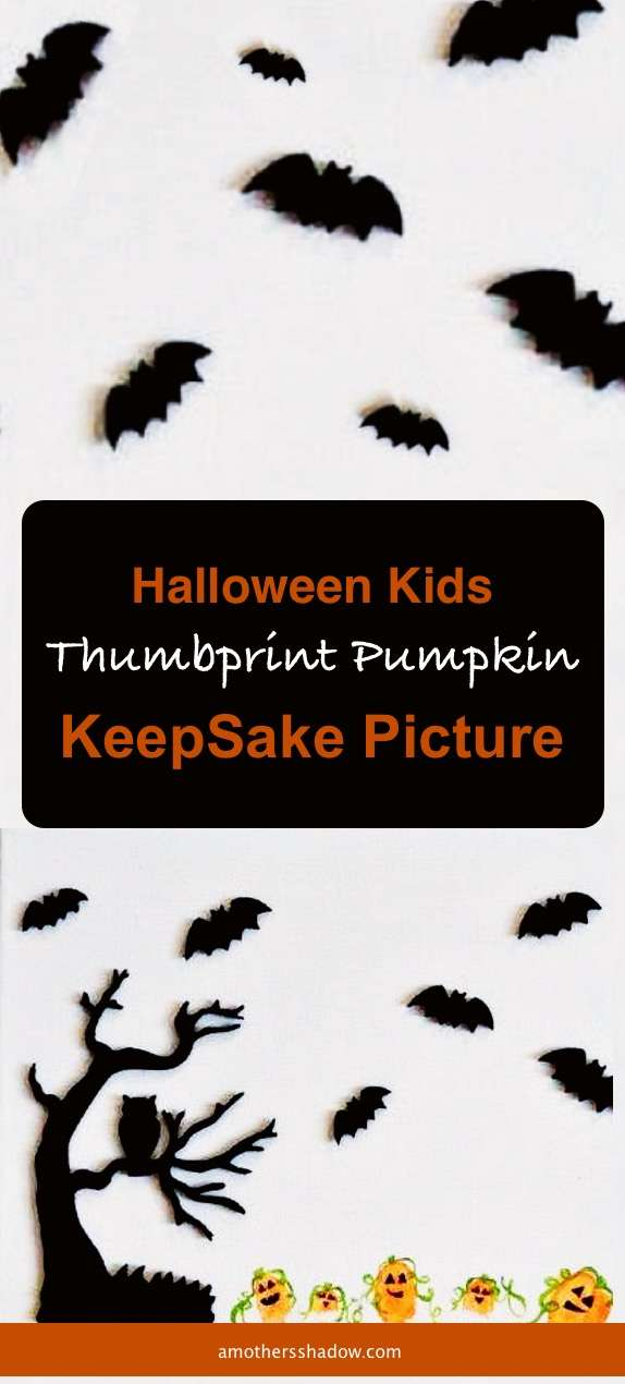 Halloween Kids Thumbprint Pumpkin Keepsake Picture