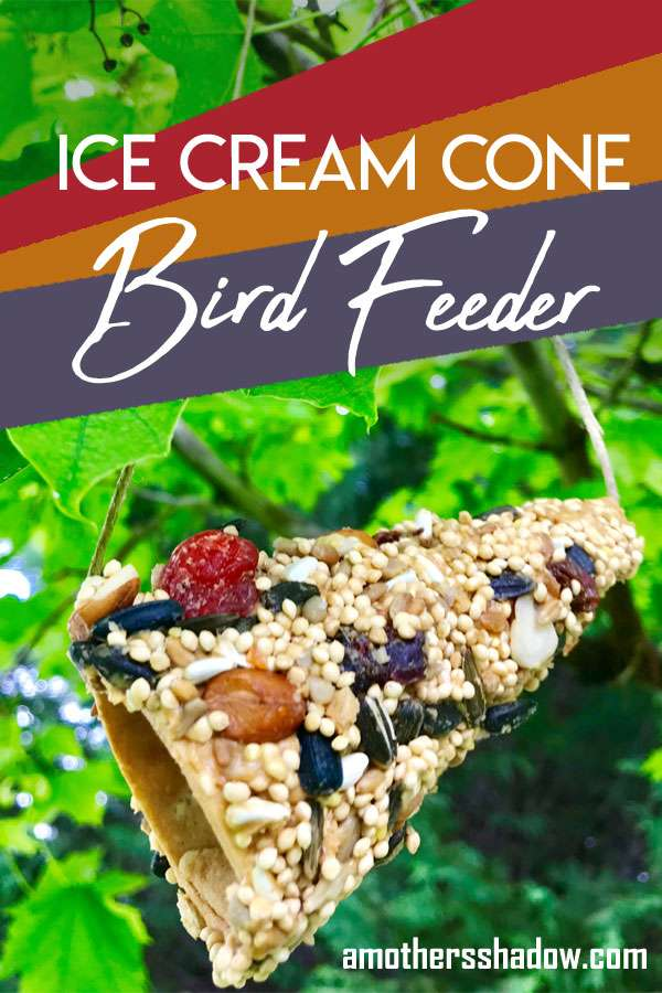 bird feeder made from an ice cream sugar cone