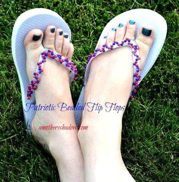 Patrotic Beaded Flip Flops