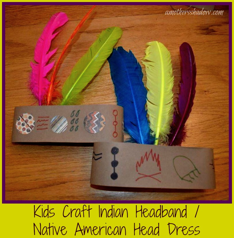 Indian head band made from paper and feathers