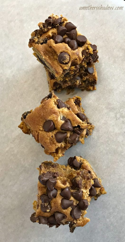 Pumpkin bars with lots of chocolate chips